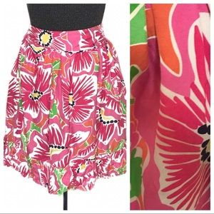Lilly Pulitzer Pink Floral Ruffled Silk Skirt P134